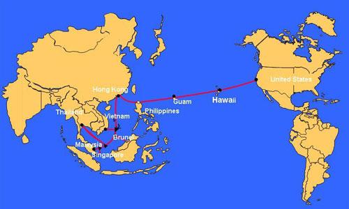 Sơ đồ tuyến cáp quang biển AAG nối châu Á Thái Bình Dương với Mỹ