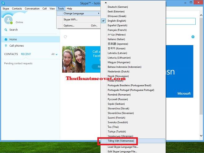 Hướng dẫn cách chuyển đổi phần mềm Skype sang giao diện tiếng Việt