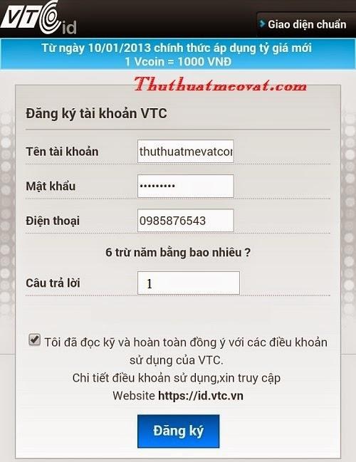 Hướng dẫn cách đăng ký, tạo mới tài khoản VTC trên điện thoại