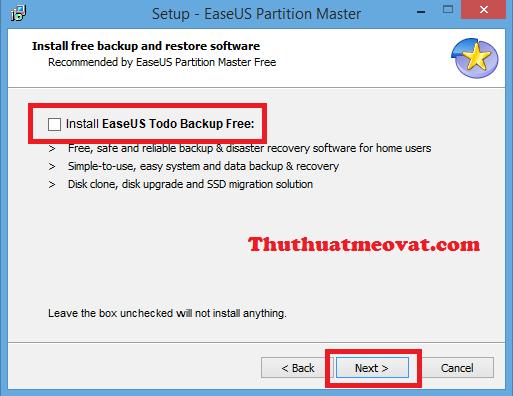 Gợi ý cài phần mềm kèm theo khi cài đặt phần mềm EASEUS Partition Master
